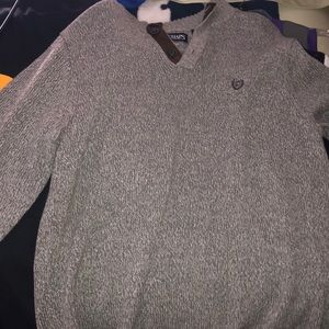 Chaps Gray button up long sleeve